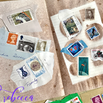 Postage Stamps on a Junk Journal Page