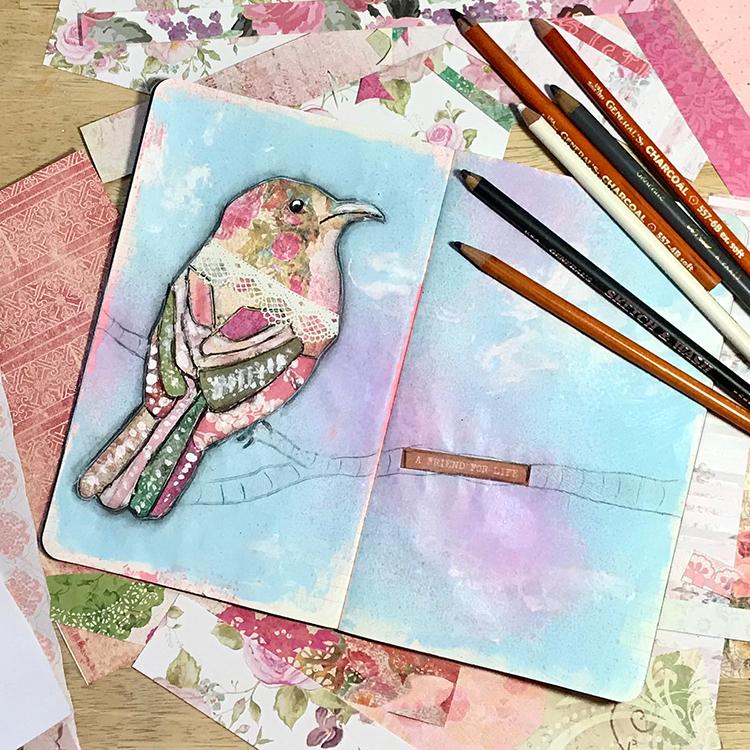 Fine Paper Pieced Collage Bird Feature