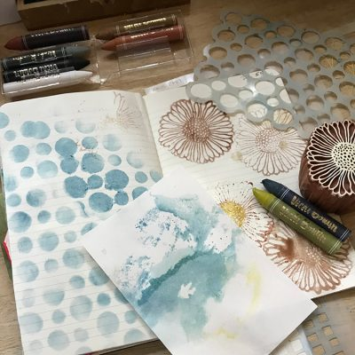 Stencil and Stamp with Water Soluble Crayons Junk Journal Tutorial