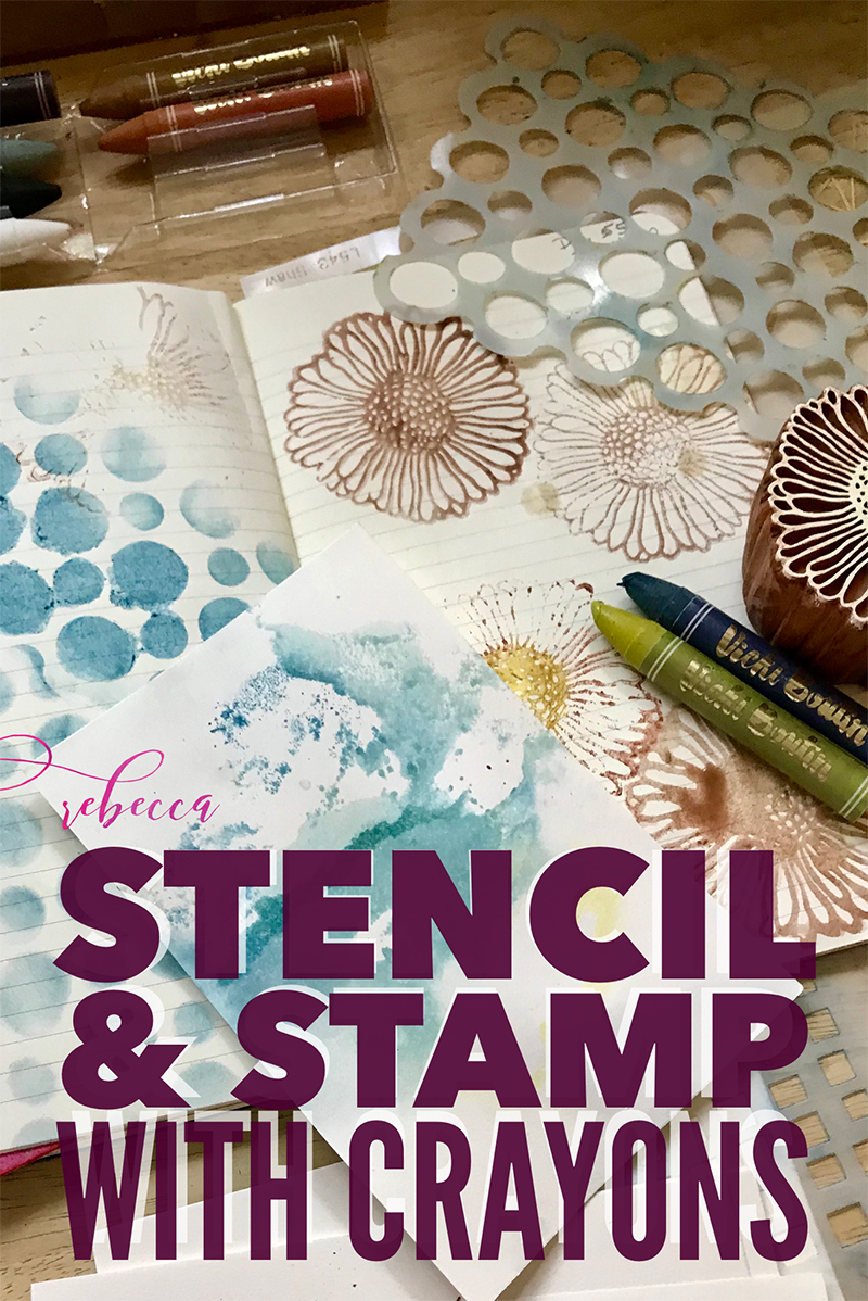 Stencil and Stamp with Crayons PIN